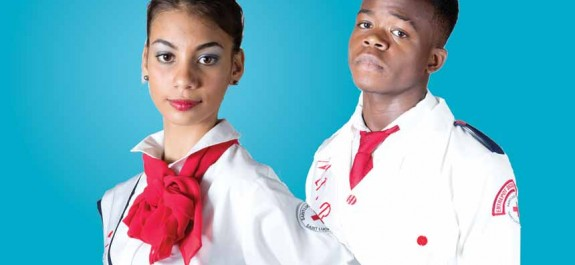 Image: Delan Charlemagne a student at the Entrepot Secondary School, (E.S.S),and Tania Foster, a student at Sir Arthur Lewis Community College, (SALCC)